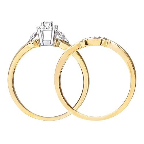 Ensemble Bague de fiançailles et alliance Femme - Or Jaune 375/1000 (9 Cts) 3.1 Gr - Diamant - T 52 5 Bijoutier Boutique Bague Femme en Or jaune 375/1000 Poids total du métal: 3.1 gr Type de pierre : Diamant
