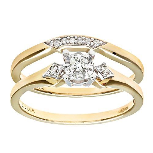 Ensemble Bague de fiançailles et alliance Femme - Or Jaune 375/1000 (9 Cts) 3.1 Gr - Diamant - T 52 1 Bijoutier Boutique Bague Femme en Or jaune 375/1000 Poids total du métal: 3.1 gr Type de pierre : Diamant