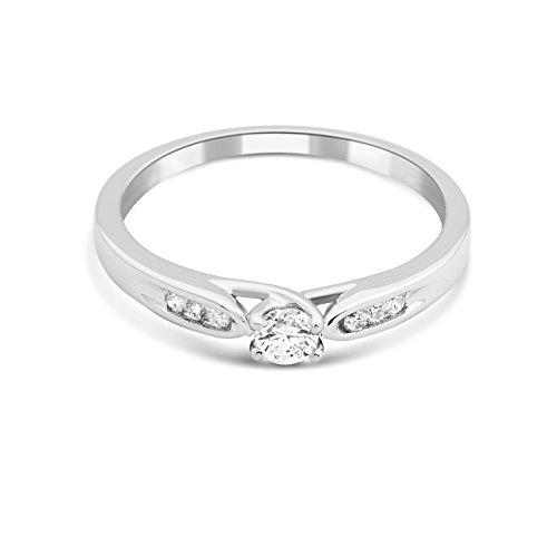 Miore - Bague Solitaire - Or Blanc 9 cts - Diamant 0.2 cts - T56 - MF9079R6 2 Bijoutier Boutique Bijou pour Femme en Or blanc 9carats (375/1000), 1.8 gr Type de pierre : Diamant Poids du diamant : 0.2 cts