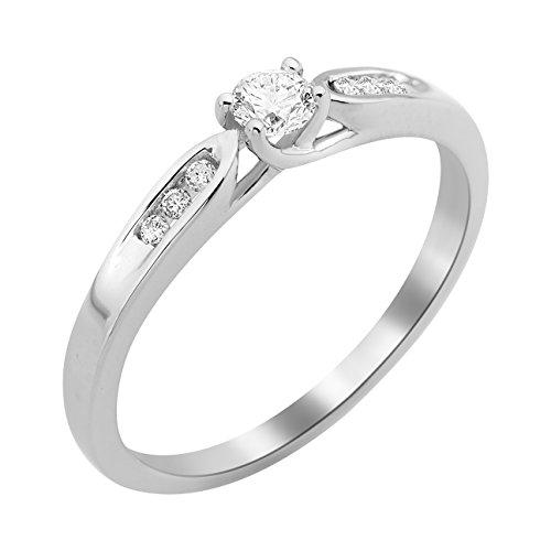 Miore - Bague Solitaire - Or Blanc 9 cts - Diamant 0.2 cts - T56 - MF9079R6 1 Bijoutier Boutique Bijou pour Femme en Or blanc 9carats (375/1000), 1.8 gr Type de pierre : Diamant Poids du diamant : 0.2 cts