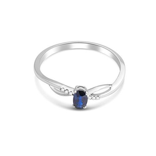 Miore - Bague Solitaire - Or Blanc 9 cts - Saphir - T56 - MKW9022R6 2 Bijoutier Boutique Bijou pour Femme en Or blanc 9carats (375/1000), 1.14 gr Type de pierre : Saphir - 0.30 carats Seconde pierre : Diamant