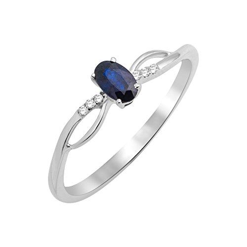 Miore - Bague Solitaire - Or Blanc 9 cts - Saphir - T56 - MKW9022R6 1 Bijoutier Boutique Bijou pour Femme en Or blanc 9carats (375/1000), 1.14 gr Type de pierre : Saphir - 0.30 carats Seconde pierre : Diamant