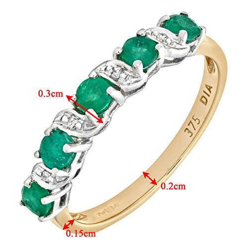 Naava - PR06899Y EM - O - Bague Femme - Or jaune (9 cts) 1.8 Gr - Diamant - Emeraude 0.005 Cts - T 55.5 4 Bijoutier Boutique Bague Femme en Or jaune 375/1000 Poids total du métal: 1.8 gr Type de pierre : Diamant et Emeraude