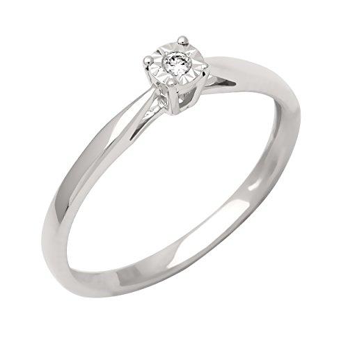 Bague Solitaire - Or blanc 9 cts - Diamant 0.05 cts - T52 - 191556.41-52 1 Bijoutier Boutique Bijou pour Femme en Or blanc 9carats (375/1000), 1.35 gr Type de pierre : Diamant Poids du diamant : 0.05 cts