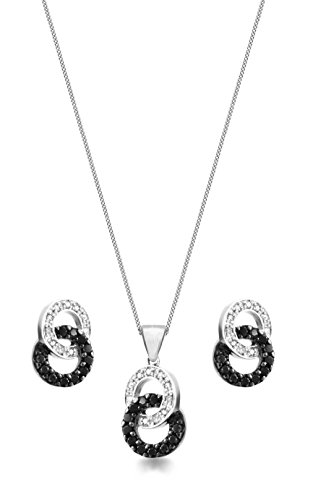 prix compétitif dd8fd fd123 Carissima Gold - Parure Collier et boucles d'oreilles - Femme - Or blanc (9  cts) 4.4 Gr - Diamant