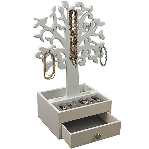 Arbre à Bijoux avec 6 crochets Boîte à Bijoux - Blanc 1 Bijoutier Boutique - Arbre à Bijoux Blanc - Avec 6 crochets - Matériaux: Bois/Panneau MDF et Métal