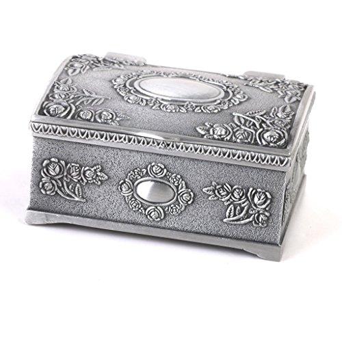 Coffret Boîte à Bijoux Vintage Forme de Coffre au Trésor d'Argent Antique 1 Bijoutier Boutique Couleur: argent antique Taille: Environ 6.4 * 4.8 * 3.1cm