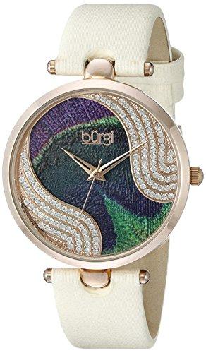 Burgi - Femme - Quartz Affichage - Analogique - Cadran Violet - Beige - Bracelet Cuir 1 Bijoutier Boutique
