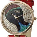 Burgi - Femme - Quartz Affichage - Analogique - Cadran Violet - Rouge - Bracelet Cuir 5 Bijoutier Boutique