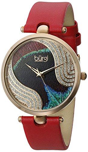 Burgi - Femme - Quartz Affichage - Analogique - Cadran Violet - Rouge - Bracelet Cuir 1 Bijoutier Boutique