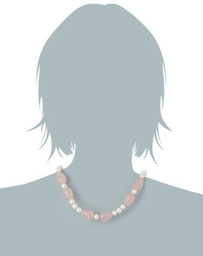 Nina Exclusiv jewelry - 149-45 - Collier Femme - Argent 925/1000 - Quartz rose - Perle d'eau douce 2 Bijoutier Boutique Bijou Femme en Argent 925/1000 Type de pierre : Quartz Type de perle : Perle d'eau douce Rose