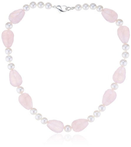Nina Exclusiv jewelry - 149-45 - Collier Femme - Argent 925/1000 - Quartz rose - Perle d'eau douce 1 Bijoutier Boutique Bijou Femme en Argent 925/1000 Type de pierre : Quartz Type de perle : Perle d'eau douce Rose