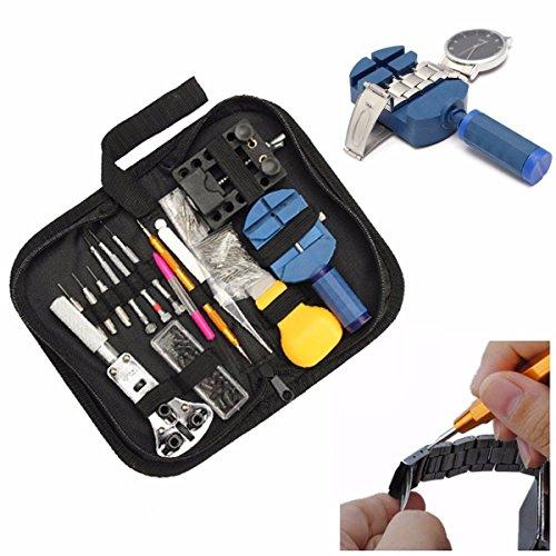 BABAN 144Pcs Watch Repair Tool Set Kit:Case Opener Lin Pin Remover Holder Spring Bar 1 Bijoutier Boutique Cette montre kit de réparation d'outils de haute qualité idéal pour commencer la réparation de montres professionnelles. De nombreux outils sont inclus pour effectuer des tâches les plus courantes telles que l'ajustement de bracelet, ouverture dos de la montre, de changer les piles de montres, changer les joints de la montre, le réglage de bracelets de montre, et plus encore. Si vous voulez avoir une trousse d'outils portable qui est petit, propre et fonctionnel, ce kit sera idéal pour ouvrir et travailler sur votre montre n'importe où que vous voulez.Vous serez en mesure d'ouvrir une montre et enlever presque toute bande de montre avec une relative facilité. Bracelet Spring Pin Taille: 8, 9, 10, 11, 12, 13, 14, 15, 16, 17, 18, 19, 20, 21, 22, 23, 24 et 25mm et housse de transport: Approx.20x10x5cm