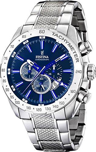 Festina - F16488-B - Montre Homme - Quartz Chronographe - Cadran Bleu - Bracelet Acier Argent 1 Bijoutier Boutique Montre homme Montre chronographe homme bracelet en acier inoxydable