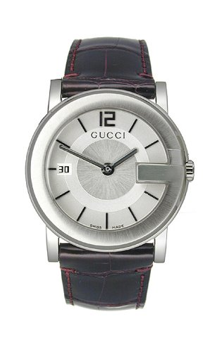 GUCCI Homme YA101404 G-cadran cuir 101G 1 Bijoutier Boutique This Gucci 101J Stainless Steel Mens Midsize Swiss Watch Model # YA101404 / YA 101404 will make a perfect gift, or a great addition to your collection. This beautiful Gucci 101 timepiece features a fine Brushed and Polished Stainless Steel G-shaped Case, Burgundy Genuine Leather Strap, Beautiful Silver Dial set with Silver tone Hand Indicators, Arabic Numeral 12 & Index Hour Markers, Date Display at the 9 o'clock position, Anti-Reflective Scratch Resistant Sapphire Crystal, Stainless Steel Fluted Crown, Swiss Quartz Movement, Water Resistant to 30 meters/100 feet, Two Year Limited Warranty.