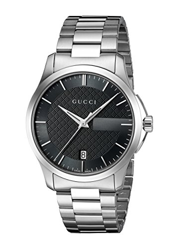 GUCCI montre G-TIMELESS MEDIUM YA126457 1 Bijoutier Boutique GUCCI G-TIMELESS MEDIUM watch YA126457, 38 mm polished stainless steel case with unscratchable sapphire crystal with anti-reflective coating inside, black dial with diamond pattern and analog display, brushed and polished stainless steel bracelet with 3 blades deployment buckle, snapped case back, Swiss Made Ronda quartz movement. New and delivered with manufacturer warranty and genuine GUCCI presentation box. 38 MM