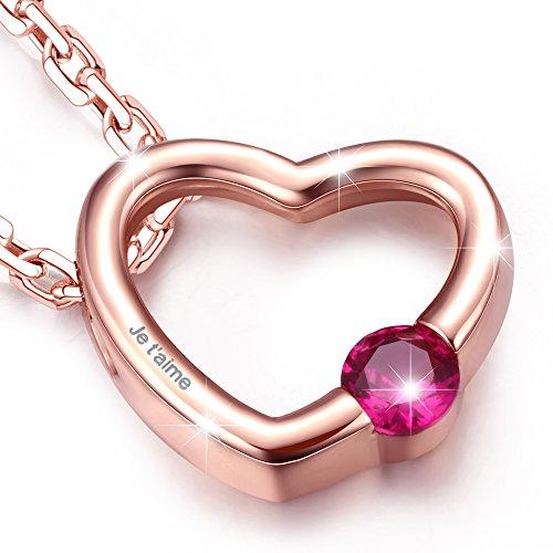 """Dawanza-Gravé """"Je t'aime""""-Collier Femme Plaqué Or Rose-Coeur-Cristal Rouge 3 Bijoutier Boutique Longueur de chaîne : 44+5cm, Taille de pendentif : 1.5*1.3cm Collier en design original est un bon choix comme un cadeau maman, un cadeau Saint Valentin ou cadeau anniversaire. Ce collier est livré avec une boîte à bijoux."""