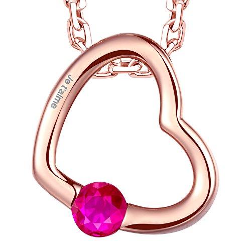 """Dawanza-Gravé """"Je t'aime""""-Collier Femme Plaqué Or Rose-Coeur-Cristal Rouge 1 Bijoutier Boutique Longueur de chaîne : 44+5cm, Taille de pendentif : 1.5*1.3cm Collier en design original est un bon choix comme un cadeau maman, un cadeau Saint Valentin ou cadeau anniversaire. Ce collier est livré avec une boîte à bijoux."""