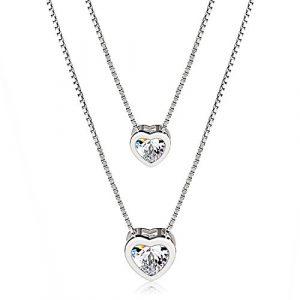 fête des mères bijoux - JRose-Cur-Collier-Toujours-avec-toi-en-argent-925-zircones-au-niveau-de-3A-chane-et-pendentif-fantaisie-double-un-cadeau-parfait-pour-les-femmes-et-les-mres-0