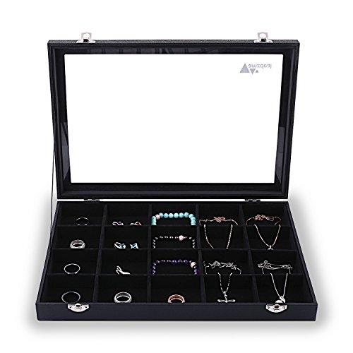 Bijoux Amzdeal Présentoir Coffret à Bijoux avec Vitre, Boîte à bijoux et Coffret de Rangement ...