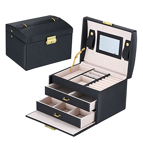 Asvert Boîte à Bijoux en Cuir PU 3 Plateaux 2 Tiroirs Elegant 17.5 * 14 * 13cm, Noir 1 Bijoutier Boutique Haute qualité: fabriqué de cuir PU et doublure en velours beige doux, apparence éléquante et durable en qualité, protège vos bijoux de la poussière et des rayures. Grande capacité: dimensions: 17.5 * 14 * 13cm, 3 plateaux et 2 tiroirs, nombreux emplacements pour bijouterie diverse. Pratique et sécuritaire: le couvercle supérieur a un grand miroir en verre biseauté niché à l'intérieur et avec deux pour déposer et balancer. Serrure avec un clés pour garder la sécurité de vos petits trésors.