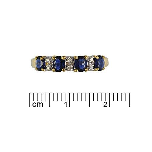 Bague - 181R0619 - 21 - Femme - Or jaune (9 cts) 2.597 Gr - Saphir - Diamant 0.828 Cts - T 54 2 Bijoutier Boutique Sertie dans de l'or jaune 9 carats. Bague semi-éternité. Quatre saphirs de forme ovale et six diamants ronds.