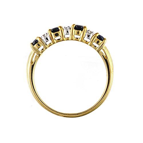 Bague - 181R0619 - 21 - Femme - Or jaune (9 cts) 2.597 Gr - Saphir - Diamant 0.828 Cts - T 54 3 Bijoutier Boutique Sertie dans de l'or jaune 9 carats. Bague semi-éternité. Quatre saphirs de forme ovale et six diamants ronds.