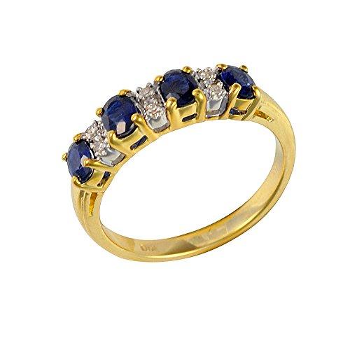 Bague - 181R0619 - 21 - Femme - Or jaune (9 cts) 2.597 Gr - Saphir - Diamant 0.828 Cts - T 54 1 Bijoutier Boutique Sertie dans de l'or jaune 9 carats. Bague semi-éternité. Quatre saphirs de forme ovale et six diamants ronds.