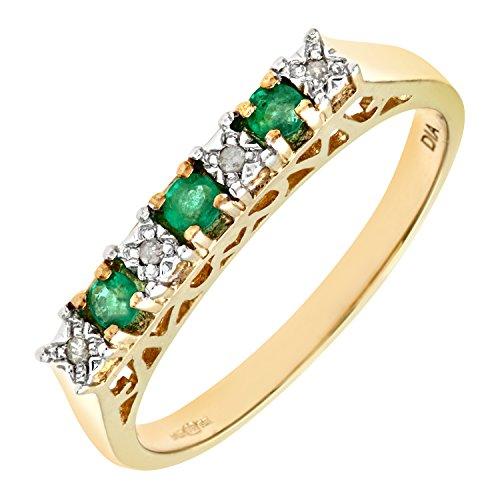Bague Femme - Or jaune (9 carats) 2.1 Gr - Emeraude - Diamant 0.18 Cts - T 55.5 2 Bijoutier Boutique Bague Femme en Or jaune 375/1000 Poids total du métal: 1.5 gr Type de pierre : Emeraude et Diamant