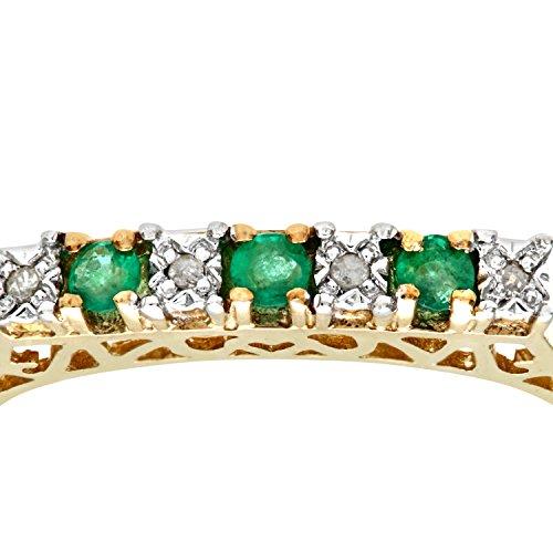 Bague Femme - Or jaune (9 carats) 2.1 Gr - Emeraude - Diamant 0.18 Cts - T 55.5 3 Bijoutier Boutique Bague Femme en Or jaune 375/1000 Poids total du métal: 1.5 gr Type de pierre : Emeraude et Diamant