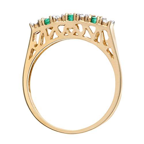Bague Femme - Or jaune (9 carats) 2.1 Gr - Emeraude - Diamant 0.18 Cts - T 55.5 4 Bijoutier Boutique Bague Femme en Or jaune 375/1000 Poids total du métal: 1.5 gr Type de pierre : Emeraude et Diamant