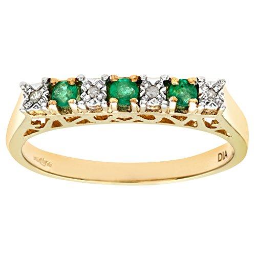 Bague Femme - Or jaune (9 carats) 2.1 Gr - Emeraude - Diamant 0.18 Cts - T 55.5 1 Bijoutier Boutique Bague Femme en Or jaune 375/1000 Poids total du métal: 1.5 gr Type de pierre : Emeraude et Diamant