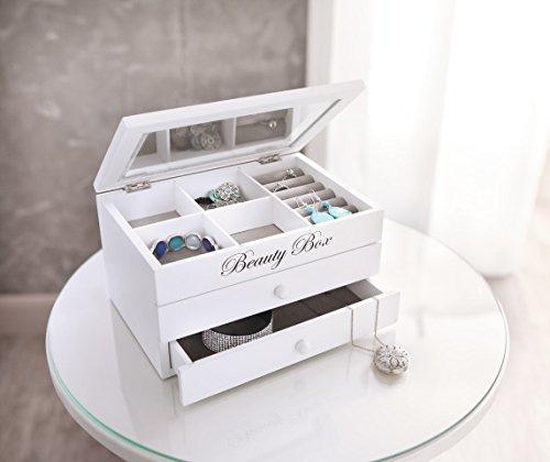 Boite à bijoux, bois laqué blanc mat, compartiments, 2 tiroirs, intérieur tissu gris 1 Bijoutier Boutique Boite à bijoux - 22 x 15 x 12 cm Dimension intérieure des tiroirs : 19 x 12,5 cm x 2,7 cm