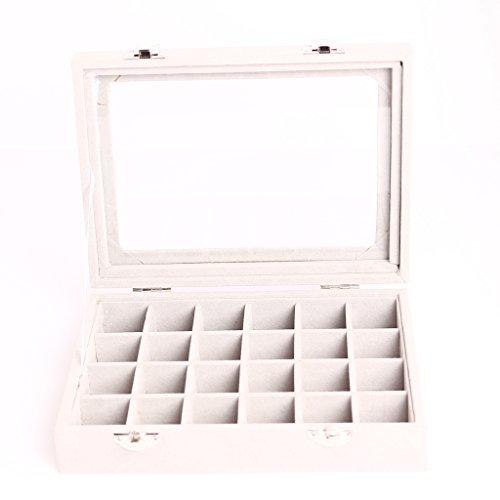 Boîte à Bijoux Rangement Stockage Organisateur 24 Compartiments - Gris 4 Bijoutier Boutique Matière: bois, velours, verre Taille: Env. 20 x 15 x 4.5cm / 7,89 x 5,9 x 1,77 pouces Taille de la grille: Env. 3 x 3cm / 1.18 x 1,18inch