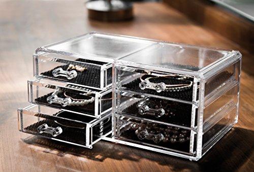Compactor Bath RAN6044 Range Bijoux 6 Tiroirs Polystyrène et Tissu Transparent 2 Bijoutier Boutique Matière : Polystyrène et Tissu Couleur : Transparent Dimensions : 23,8 x 15 x 11 cm