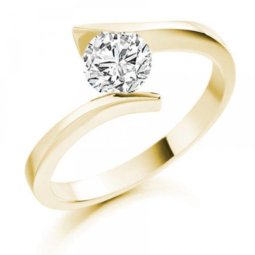 Diamond Manufacturers - Bague de fiancailles avec diamant Rond Femme - Or jaune 750/1000 (18 cts) - Diamant 1.02 ct 3 Bijoutier Boutique Or jaune 750/1000 (18 cts) 1.02 carat Couleur-E Pureté-IF Bague de fiancailles avec Diamant certifié de qualité supérieure. Le diamant est serti sur une monture à en Or jaune 750/1000 (18 cts).