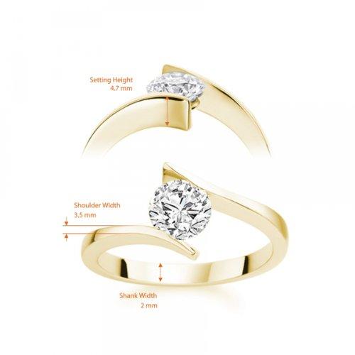 Diamond Manufacturers - Bague de fiancailles avec diamant Rond Femme - Or jaune 750/1000 (18 cts) - Diamant 1.02 ct 6 Bijoutier Boutique Or jaune 750/1000 (18 cts) 1.02 carat Couleur-E Pureté-IF Bague de fiancailles avec Diamant certifié de qualité supérieure. Le diamant est serti sur une monture à en Or jaune 750/1000 (18 cts).