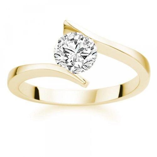Diamond Manufacturers - Bague de fiancailles avec diamant Rond Femme - Or jaune 750/1000 (18 cts) - Diamant 1.02 ct 2 Bijoutier Boutique Or jaune 750/1000 (18 cts) 1.02 carat Couleur-E Pureté-IF Bague de fiancailles avec Diamant certifié de qualité supérieure. Le diamant est serti sur une monture à en Or jaune 750/1000 (18 cts).