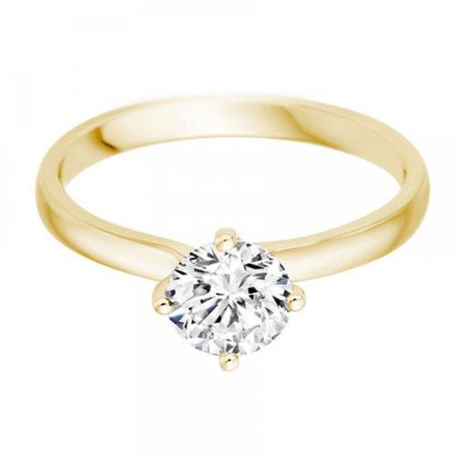 Diamond Manufacturers - Bague de fiancailles avec diamant Rond Femme - Or jaune 750/1000 (18 cts) - Diamant 1.22 ct 4 Bijoutier Boutique Or jaune 750/1000 (18 cts) 1.22 carat Couleur-E Pureté-VVS1 Bague de fiancailles avec Diamant certifié de qualité supérieure. Le diamant est serti sur une monture à Griffes en Or jaune 750/1000 (18 cts).