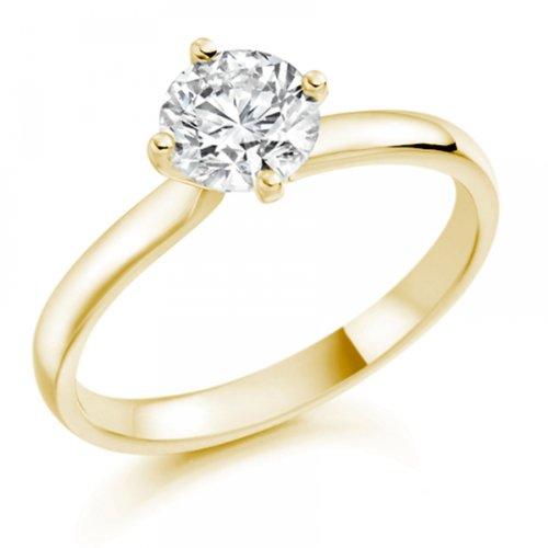 Diamond Manufacturers - Bague de fiancailles avec diamant Rond Femme - Or jaune 750/1000 (18 cts) - Diamant 1.32 ct 3 Bijoutier Boutique Or jaune 750/1000 (18 cts) 1.32 carat Couleur-F Pureté-VS1 Bague de fiancailles avec Diamant certifié de qualité supérieure. Le diamant est serti sur une monture à Griffes en Or jaune 750/1000 (18 cts).