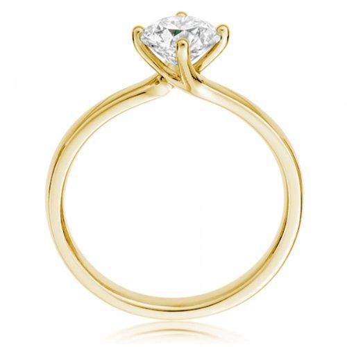 Diamond Manufacturers - Bague de fiancailles avec diamant Rond Femme - Or jaune 750/1000 (18 cts) - Diamant 1.32 ct 4 Bijoutier Boutique Or jaune 750/1000 (18 cts) 1.32 carat Couleur-F Pureté-VS1 Bague de fiancailles avec Diamant certifié de qualité supérieure. Le diamant est serti sur une monture à Griffes en Or jaune 750/1000 (18 cts).