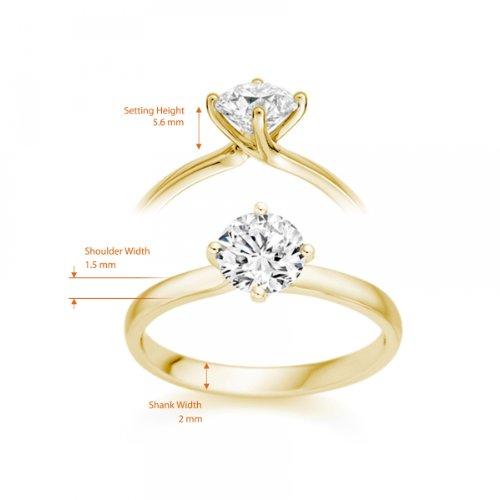 Diamond Manufacturers - Bague de fiancailles avec diamant Rond Femme - Or jaune 750/1000 (18 cts) - Diamant 1.32 ct 6 Bijoutier Boutique Or jaune 750/1000 (18 cts) 1.32 carat Couleur-F Pureté-VS1 Bague de fiancailles avec Diamant certifié de qualité supérieure. Le diamant est serti sur une monture à Griffes en Or jaune 750/1000 (18 cts).