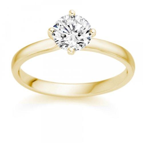 Diamond Manufacturers - Bague de fiancailles avec diamant Rond Femme - Or jaune 750/1000 (18 cts) - Diamant 1.32 ct 2 Bijoutier Boutique Or jaune 750/1000 (18 cts) 1.32 carat Couleur-F Pureté-VS1 Bague de fiancailles avec Diamant certifié de qualité supérieure. Le diamant est serti sur une monture à Griffes en Or jaune 750/1000 (18 cts).