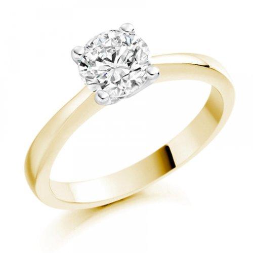 Diamond Manufacturers - Bague de fiancailles avec diamant Rond Femme - Or jaune 750/1000 (18 cts) - Diamant 1.02 ct 7 Bijoutier Boutique Or jaune 750/1000 (18 cts) 1.02 carat Couleur-E Pureté-IF Bague de fiancailles avec Diamant certifié de qualité supérieure. Le diamant est serti sur une monture à en Or jaune 750/1000 (18 cts).