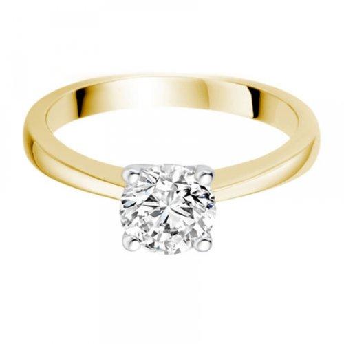 Diamond Manufacturers - Bague de fiancailles avec diamant Rond Femme - Or jaune 750/1000 (18 cts) - Diamant 1.02 ct 9 Bijoutier Boutique Or jaune 750/1000 (18 cts) 1.02 carat Couleur-E Pureté-IF Bague de fiancailles avec Diamant certifié de qualité supérieure. Le diamant est serti sur une monture à en Or jaune 750/1000 (18 cts).