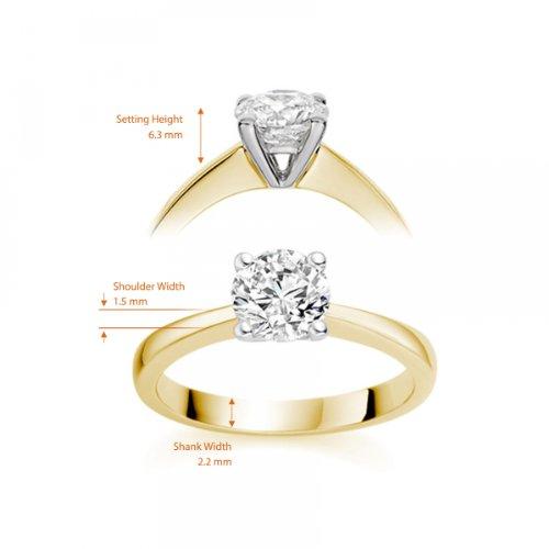 Diamond Manufacturers - Bague de fiancailles avec diamant Rond Femme - Or jaune 750/1000 (18 cts) - Diamant 1.02 ct 10 Bijoutier Boutique Or jaune 750/1000 (18 cts) 1.02 carat Couleur-E Pureté-IF Bague de fiancailles avec Diamant certifié de qualité supérieure. Le diamant est serti sur une monture à en Or jaune 750/1000 (18 cts).