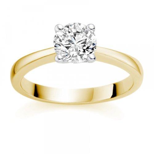 Diamond Manufacturers - Bague de fiancailles avec diamant Rond Femme - Or jaune 750/1000 (18 cts) - Diamant 1.02 ct 1 Bijoutier Boutique Or jaune 750/1000 (18 cts) 1.02 carat Couleur-E Pureté-IF Bague de fiancailles avec Diamant certifié de qualité supérieure. Le diamant est serti sur une monture à en Or jaune 750/1000 (18 cts).