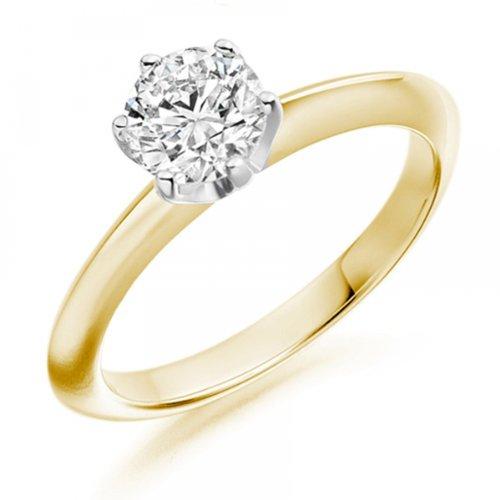 Diamond Manufacturers - Bague de fiancailles avec diamant Rond Femme - Or jaune 750/1000 (18 cts) - Diamant 1.30 ct 2 Bijoutier Boutique Or jaune 750/1000 (18 cts) 1.30 carat Couleur-G Pureté-VVS2 Bague de fiancailles avec Diamant certifié de qualité supérieure. Le diamant est serti sur une monture à Griffes en Or jaune 750/1000 (18 cts).