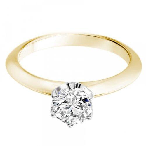Diamond Manufacturers - Bague de fiancailles avec diamant Rond Femme - Or jaune 750/1000 (18 cts) - Diamant 1.30 ct 4 Bijoutier Boutique Or jaune 750/1000 (18 cts) 1.30 carat Couleur-G Pureté-VVS2 Bague de fiancailles avec Diamant certifié de qualité supérieure. Le diamant est serti sur une monture à Griffes en Or jaune 750/1000 (18 cts).