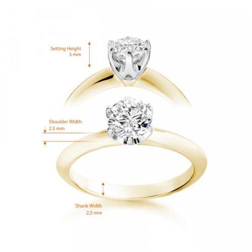 Diamond Manufacturers - Bague de fiancailles avec diamant Rond Femme - Or jaune 750/1000 (18 cts) - Diamant 1.30 ct 5 Bijoutier Boutique Or jaune 750/1000 (18 cts) 1.30 carat Couleur-G Pureté-VVS2 Bague de fiancailles avec Diamant certifié de qualité supérieure. Le diamant est serti sur une monture à Griffes en Or jaune 750/1000 (18 cts).